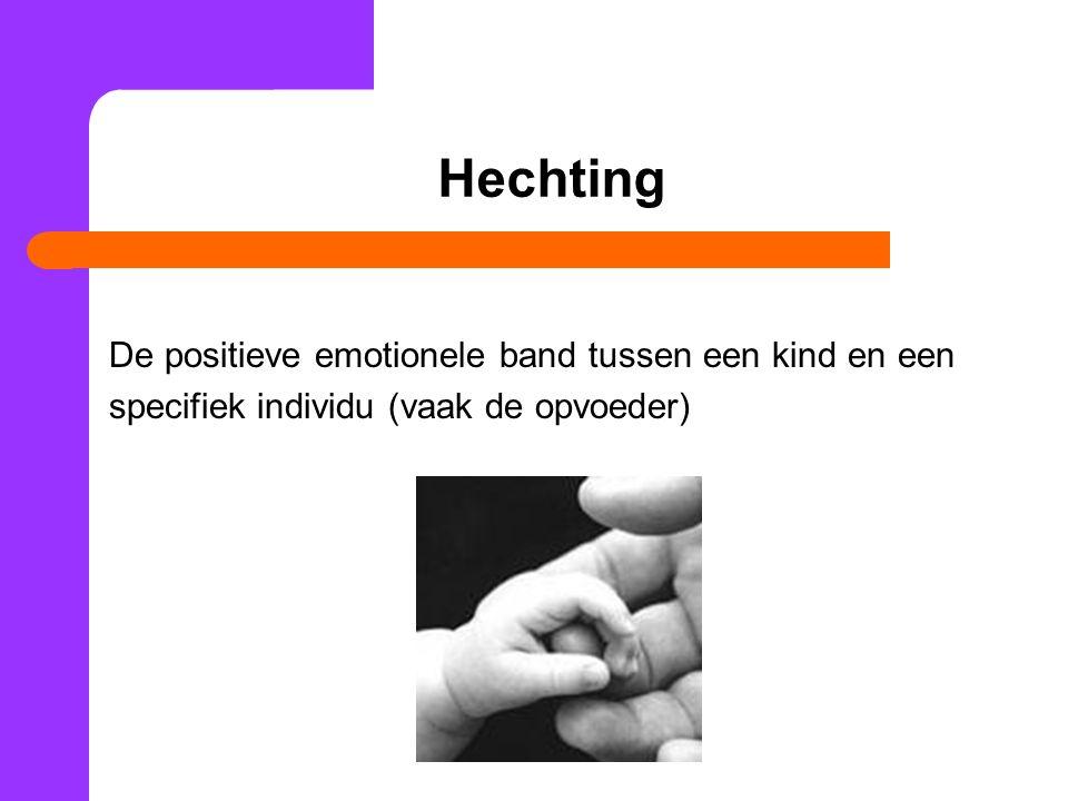 Hechting De positieve emotionele band tussen een kind en een specifiek individu (vaak de opvoeder)