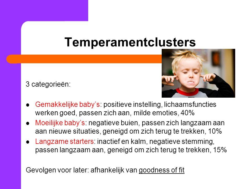 Temperamentclusters 3 categorieën: Gemakkelijke baby's: positieve instelling, lichaamsfuncties werken goed, passen zich aan, milde emoties, 40% Moeilijke baby's: negatieve buien, passen zich langzaam aan aan nieuwe situaties, geneigd om zich terug te trekken, 10% Langzame starters: inactief en kalm, negatieve stemming, passen langzaam aan, geneigd om zich terug te trekken, 15% Gevolgen voor later: afhankelijk van goodness of fit