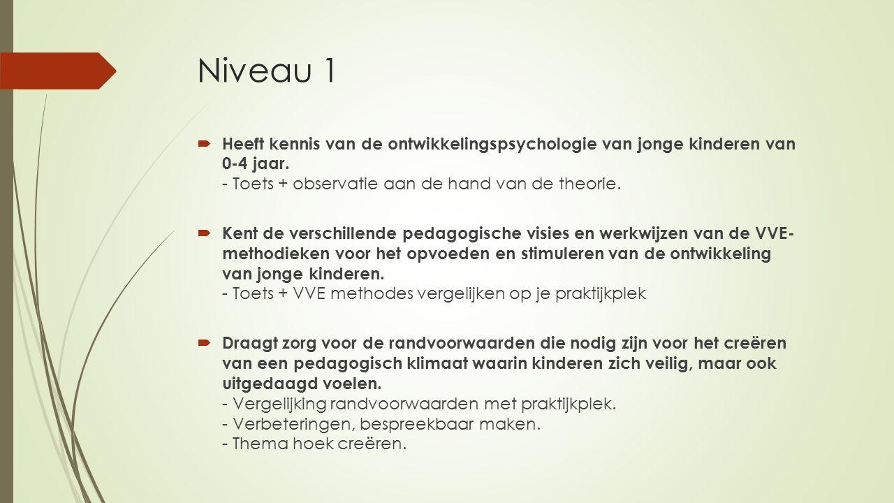 Niveau 1  Heeft kennis van de ontwikkelingspsychologie van jonge kinderen van 0-4 jaar. - Toets + observatie aan de hand van de theorie.  Kent de ve