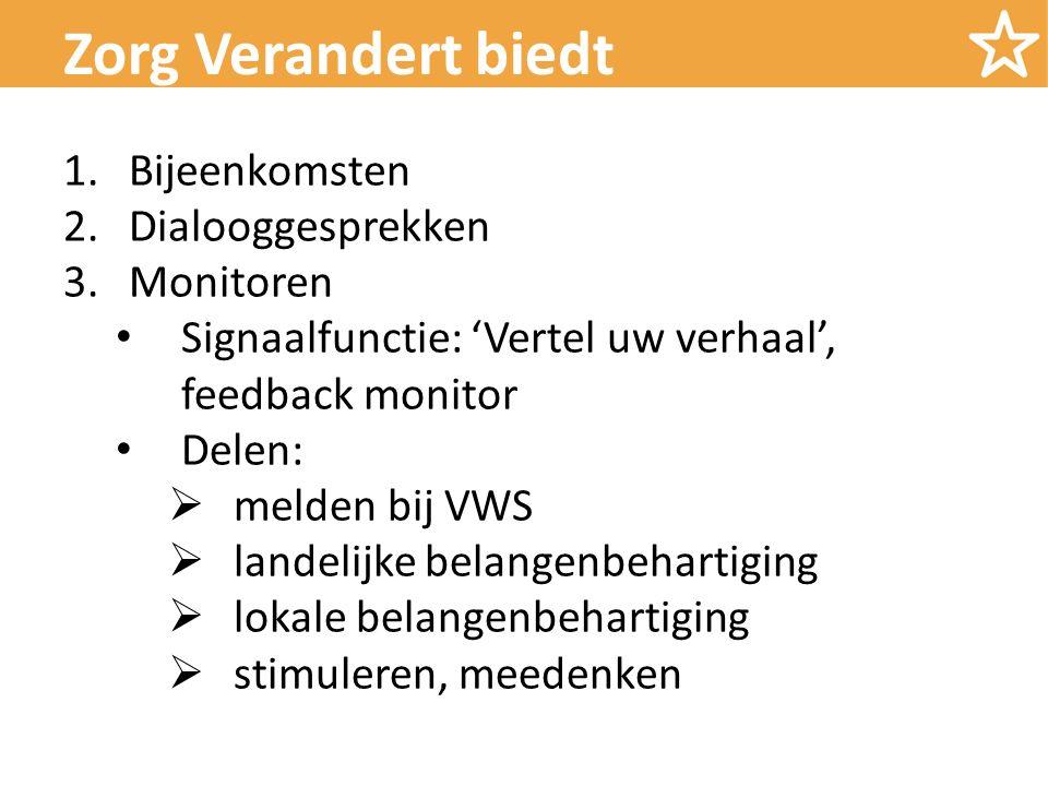 1.Bijeenkomsten 2.Dialooggesprekken 3.Monitoren Signaalfunctie: 'Vertel uw verhaal', feedback monitor Delen:  melden bij VWS  landelijke belangenbehartiging  lokale belangenbehartiging  stimuleren, meedenken Zorg Verandert biedt
