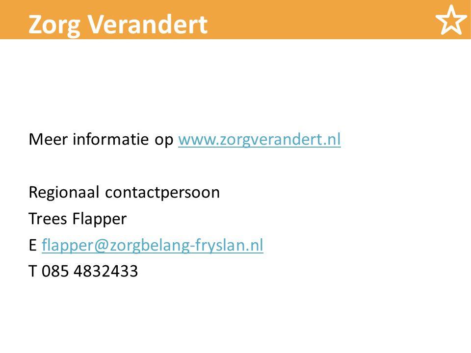 Meer informatie op www.zorgverandert.nlwww.zorgverandert.nl Regionaal contactpersoon Trees Flapper E flapper@zorgbelang-fryslan.nlflapper@zorgbelang-fryslan.nl T 085 4832433 Zorg Verandert