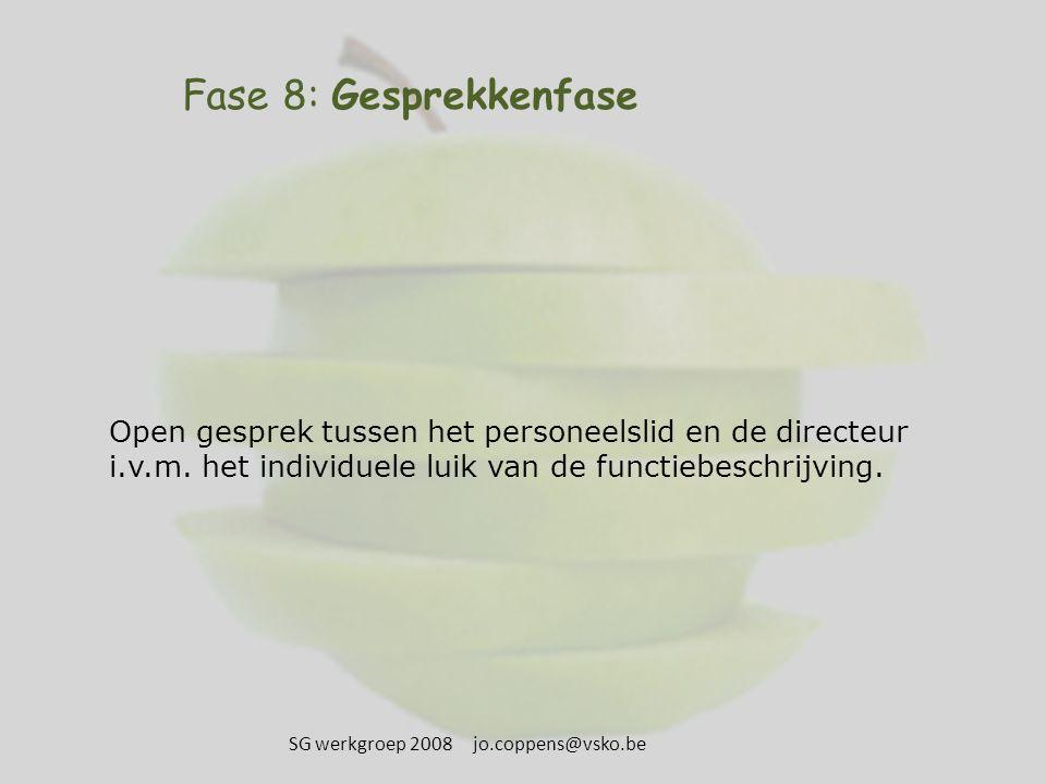 Fase 8: Gesprekkenfase Open gesprek tussen het personeelslid en de directeur i.v.m. het individuele luik van de functiebeschrijving. SG werkgroep 2008