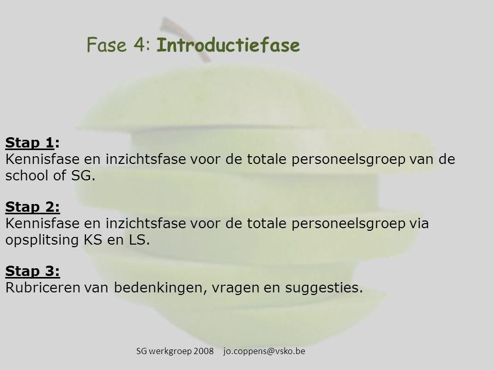 Fase 4: Introductiefase Stap 1: Kennisfase en inzichtsfase voor de totale personeelsgroep van de school of SG. Stap 2: Kennisfase en inzichtsfase voor