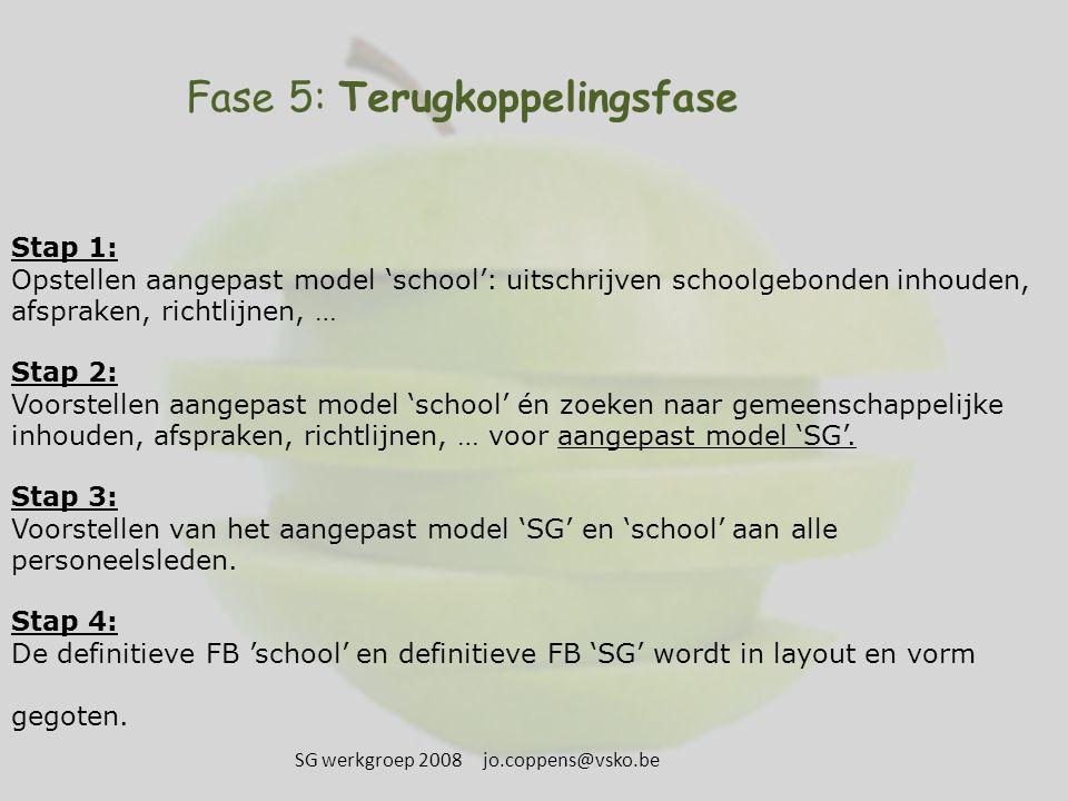 Fase 5: Terugkoppelingsfase Stap 1: Opstellen aangepast model 'school': uitschrijven schoolgebonden inhouden, afspraken, richtlijnen, … Stap 2: Voorstellen aangepast model 'school' én zoeken naar gemeenschappelijke inhouden, afspraken, richtlijnen, … voor aangepast model 'SG'.