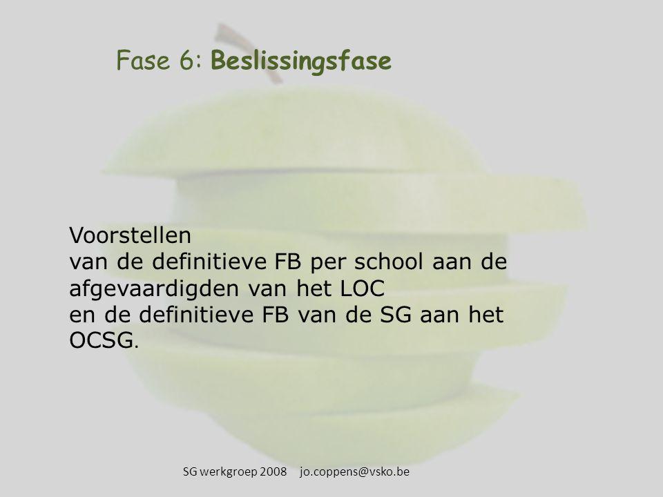 Fase 6: Beslissingsfase Voorstellen van de definitieve FB per school aan de afgevaardigden van het LOC en de definitieve FB van de SG aan het OCSG. SG