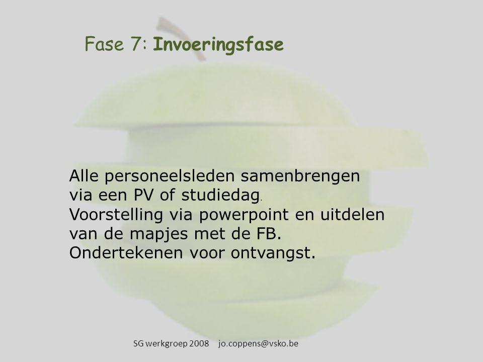 Fase 7: Invoeringsfase Alle personeelsleden samenbrengen via een PV of studiedag. Voorstelling via powerpoint en uitdelen van de mapjes met de FB. Ond