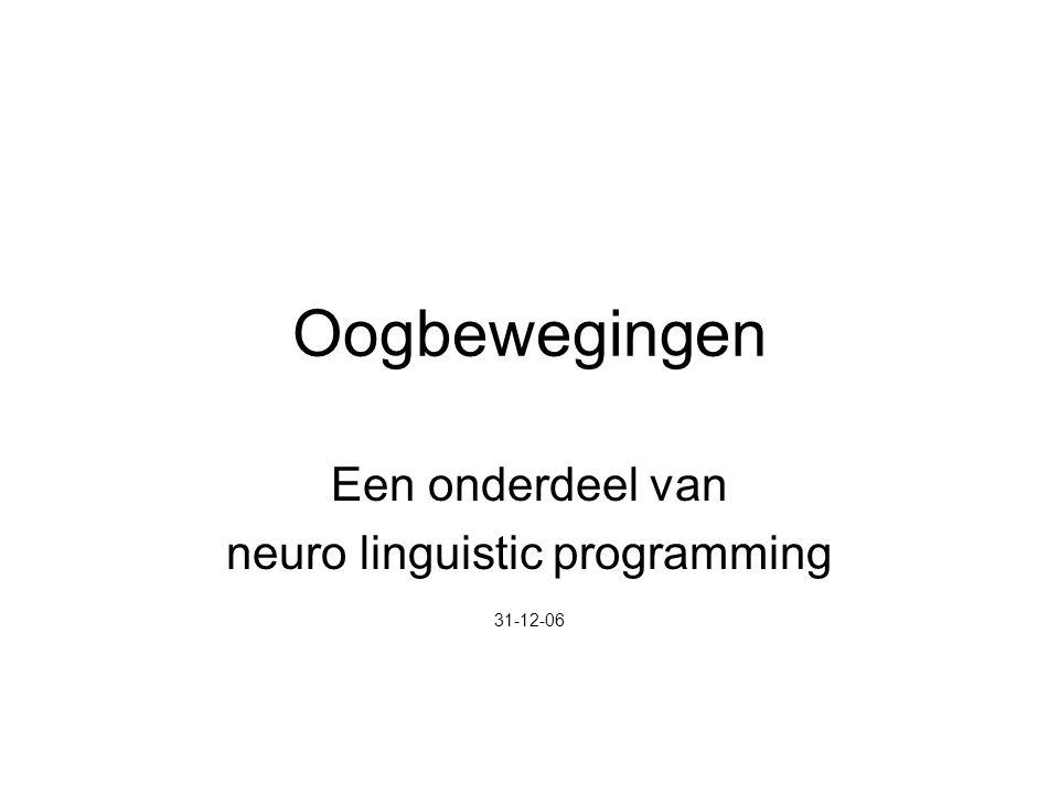 Oogbewegingen Een onderdeel van neuro linguistic programming 31-12-06