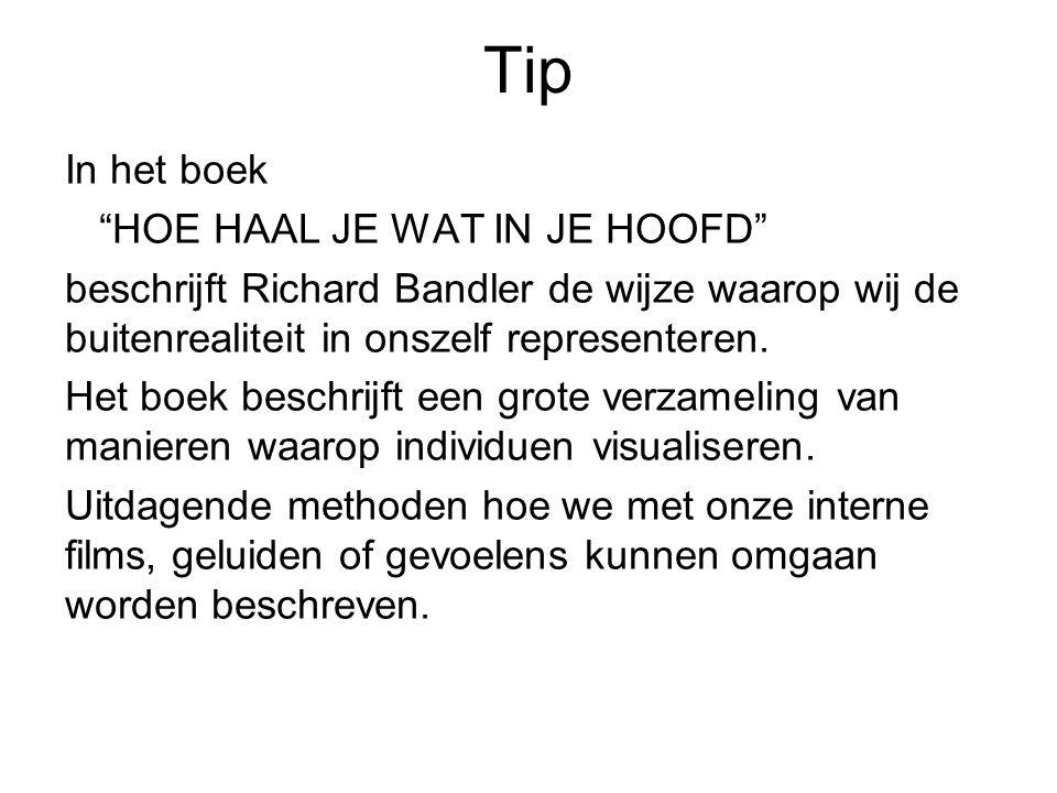 """Tip In het boek """"HOE HAAL JE WAT IN JE HOOFD"""" beschrijft Richard Bandler de wijze waarop wij de buitenrealiteit in onszelf representeren. Het boek bes"""