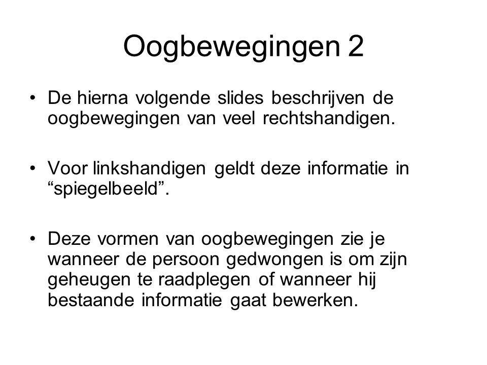 """Oogbewegingen 2 De hierna volgende slides beschrijven de oogbewegingen van veel rechtshandigen. Voor linkshandigen geldt deze informatie in """"spiegelbe"""