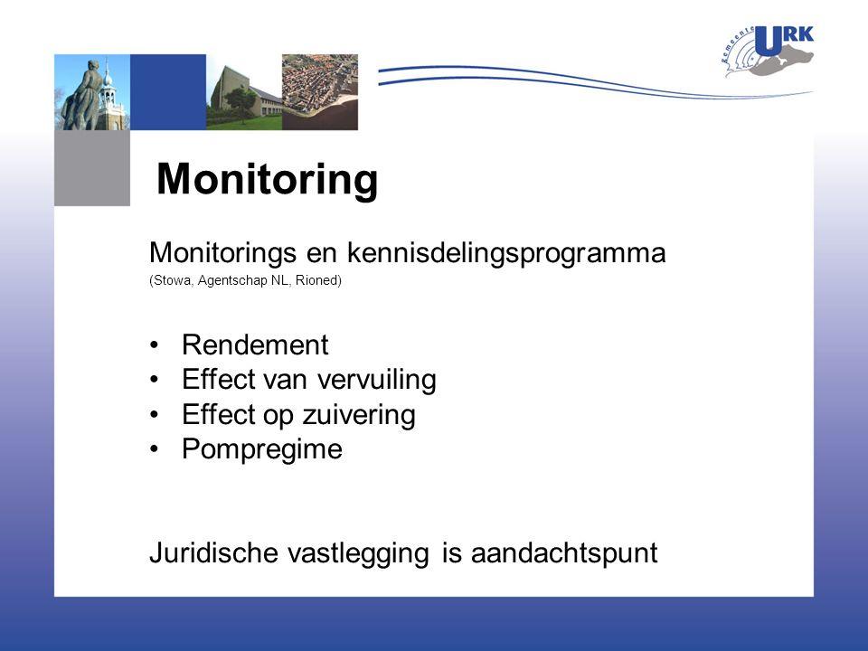 Monitoring Monitorings en kennisdelingsprogramma (Stowa, Agentschap NL, Rioned) Rendement Effect van vervuiling Effect op zuivering Pompregime Juridische vastlegging is aandachtspunt