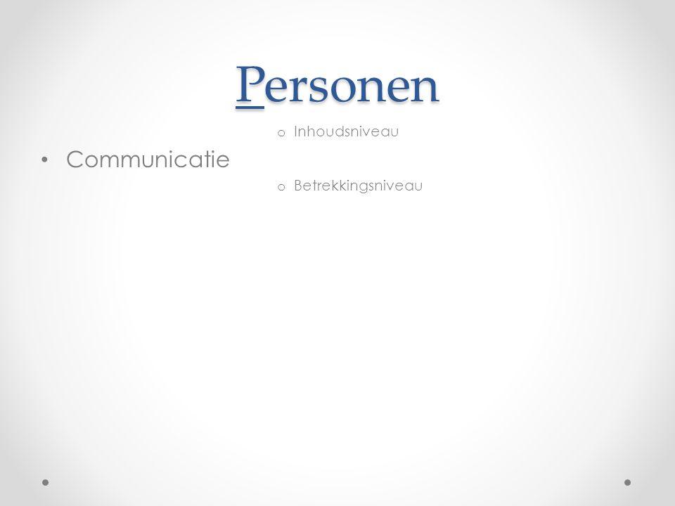 Personen o Inhoudsniveau Communicatie o Betrekkingsniveau