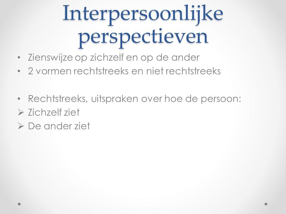 Interpersoonlijke perspectieven Zienswijze op zichzelf en op de ander 2 vormen rechtstreeks en niet rechtstreeks Rechtstreeks, uitspraken over hoe de persoon:  Zichzelf ziet  De ander ziet