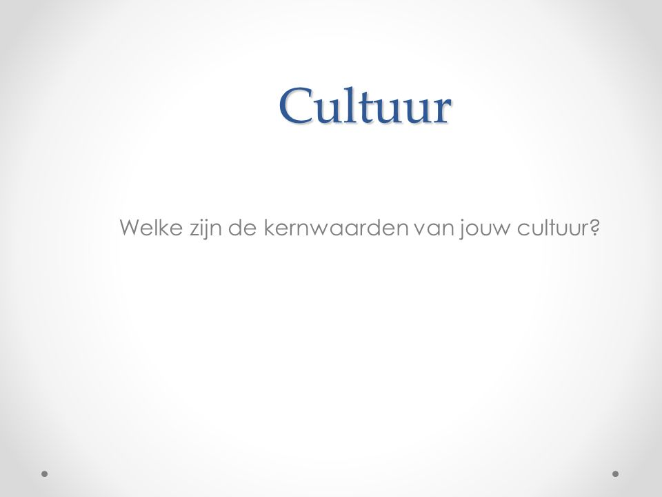 Cultuur Cultuur als model van en model voor de werkelijkheid zingevend kader Acculturatie, Integratie, Separatie, Assimilatie en Marginalisatie - basisaanpassing Domein- en situatiespecifiek Het multiculturele individu