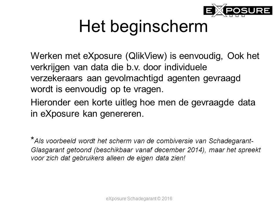 Het beginscherm Werken met eXposure (QlikView) is eenvoudig, Ook het verkrijgen van data die b.v. door individuele verzekeraars aan gevolmachtigd agen
