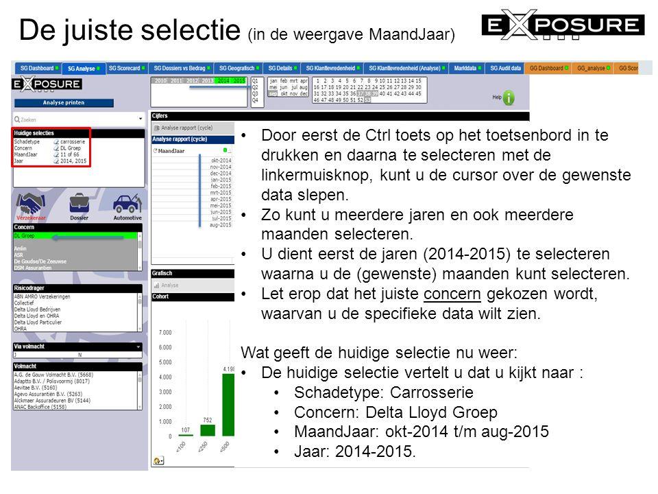 De juiste selectie (in de weergave MaandJaar) eXposure Schadegarant © 2014 Door eerst de Ctrl toets op het toetsenbord in te drukken en daarna te sele