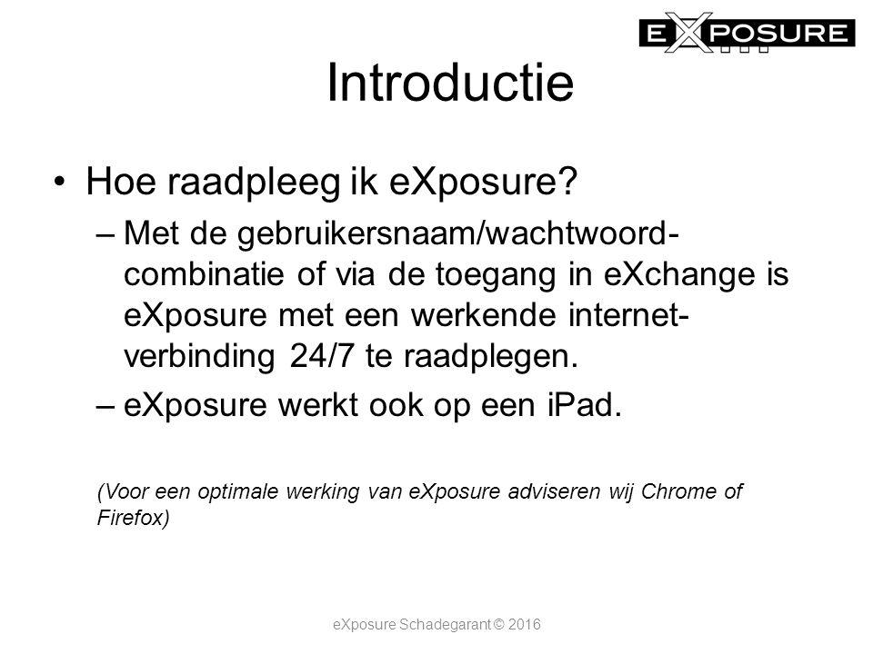 Introductie Hoe raadpleeg ik eXposure? –Met de gebruikersnaam/wachtwoord- combinatie of via de toegang in eXchange is eXposure met een werkende intern