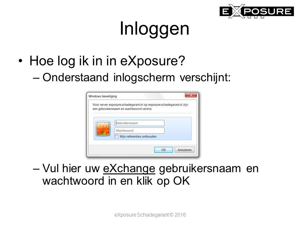 Inloggen Hoe log ik in in eXposure? –Onderstaand inlogscherm verschijnt: –Vul hier uw eXchange gebruikersnaam en wachtwoord in en klik op OK eXposure