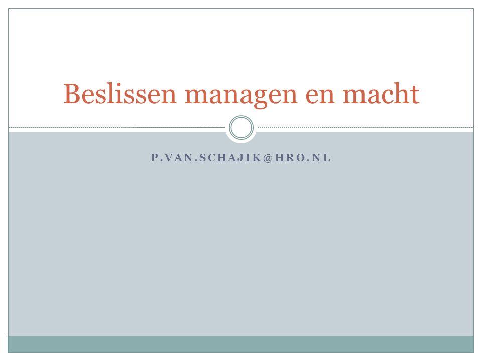 P.VAN.SCHAJIK@HRO.NL Beslissen managen en macht