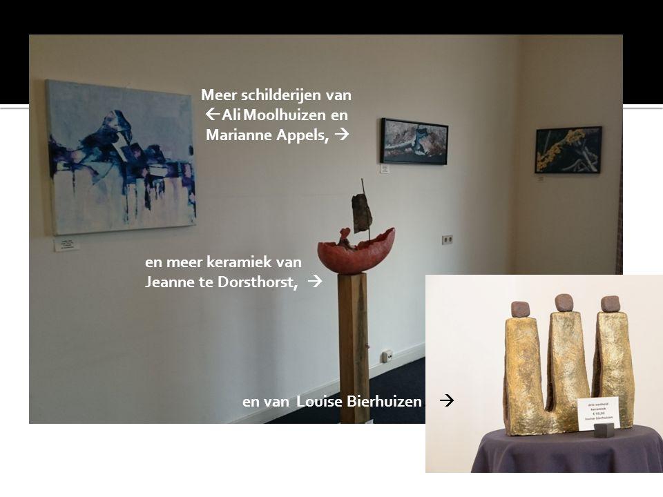 Meer schilderijen van  Ali Moolhuizen en Marianne Appels,  en meer keramiek van Jeanne te Dorsthorst,  en van Louise Bierhuizen. 
