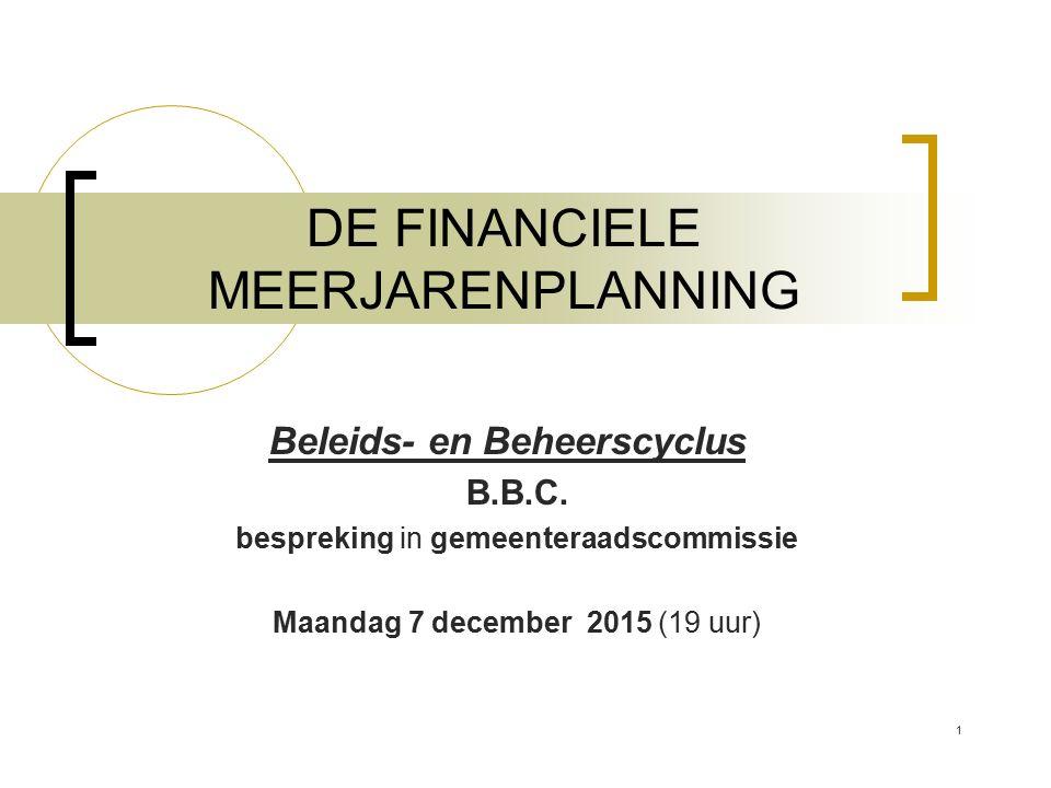 DE FINANCIELE MEERJARENPLANNING Beleids- en Beheerscyclus B.B.C. bespreking in gemeenteraadscommissie Maandag 7 december 2015 (19 uur) 1