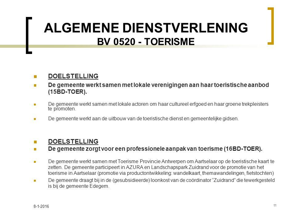 ALGEMENE DIENSTVERLENING BV 0520 - TOERISME DOELSTELLING De gemeente werkt samen met lokale verenigingen aan haar toeristische aanbod (15BD-TOER). De