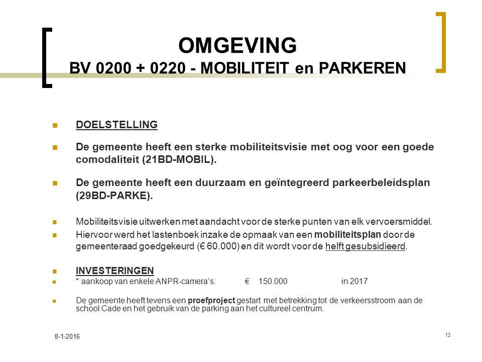 OMGEVING BV 0200 + 0220 - MOBILITEIT en PARKEREN DOELSTELLING De gemeente heeft een sterke mobiliteitsvisie met oog voor een goede comodaliteit (21BD-MOBIL).