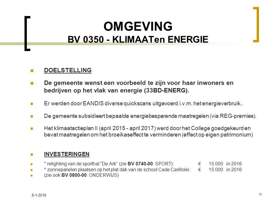 OMGEVING BV 0350 - KLIMAATen ENERGIE DOELSTELLING De gemeente wenst een voorbeeld te zijn voor haar inwoners en bedrijven op het vlak van energie (33BD-ENERG).