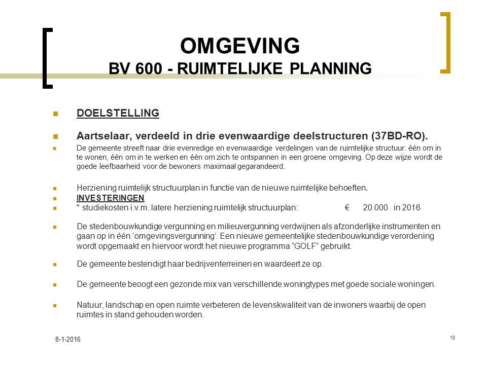 OMGEVING BV 600 - RUIMTELIJKE PLANNING DOELSTELLING Aartselaar, verdeeld in drie evenwaardige deelstructuren (37BD-RO). De gemeente streeft naar drie