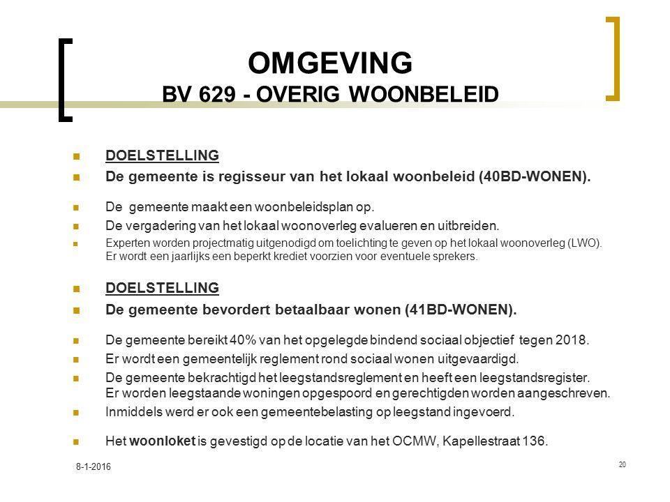 OMGEVING BV 629 - OVERIG WOONBELEID DOELSTELLING De gemeente is regisseur van het lokaal woonbeleid (40BD-WONEN). De gemeente maakt een woonbeleidspla