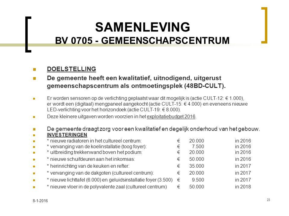 SAMENLEVING BV 0705 - GEMEENSCHAPSCENTRUM DOELSTELLING De gemeente heeft een kwalitatief, uitnodigend, uitgerust gemeenschapscentrum als ontmoetingsplek (48BD-CULT).
