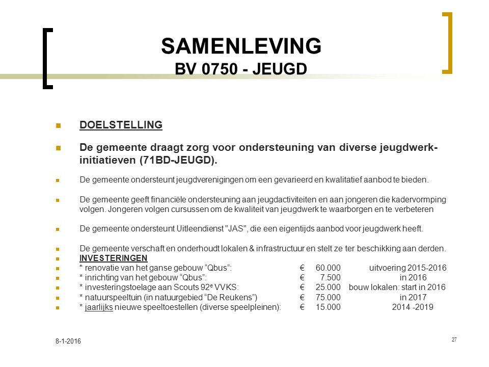 SAMENLEVING BV 0750 - JEUGD DOELSTELLING De gemeente draagt zorg voor ondersteuning van diverse jeugdwerk- initiatieven (71BD-JEUGD). De gemeente onde