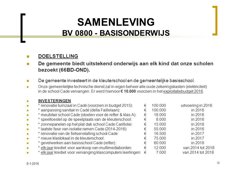SAMENLEVING BV 0800 - BASISONDERWIJS DOELSTELLING De gemeente biedt uitstekend onderwijs aan elk kind dat onze scholen bezoekt (66BD-OND). De gemeente