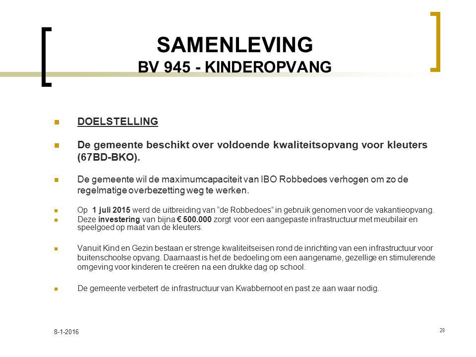SAMENLEVING BV 945 - KINDEROPVANG DOELSTELLING De gemeente beschikt over voldoende kwaliteitsopvang voor kleuters (67BD-BKO). De gemeente wil de maxim