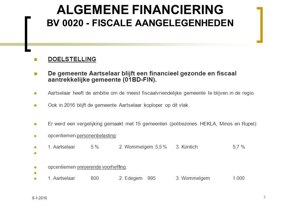 ALGEMENE FINANCIERING BV 0020 - FISCALE AANGELEGENHEDEN DOELSTELLING De gemeente Aartselaar blijft een financieel gezonde en fiscaal aantrekkelijke gemeente (01BD-FIN).