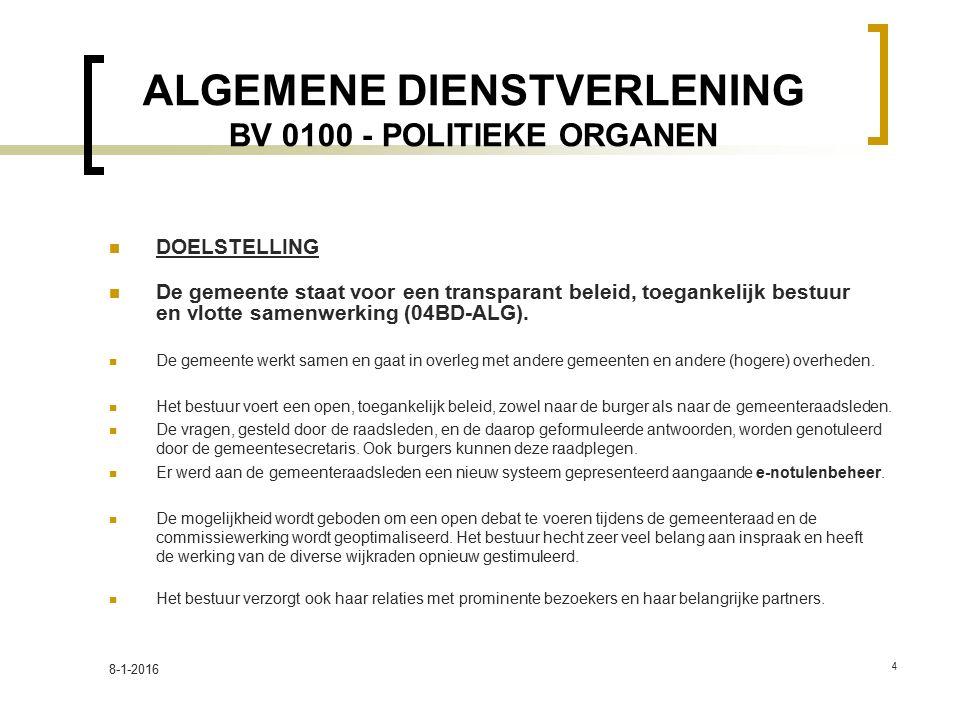 ALGEMENE DIENSTVERLENING BV 0100 - POLITIEKE ORGANEN DOELSTELLING De gemeente staat voor een transparant beleid, toegankelijk bestuur en vlotte samenwerking (04BD-ALG).