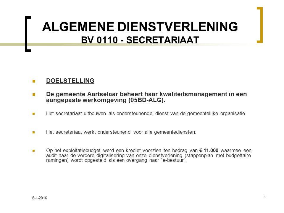 ALGEMENE DIENSTVERLENING BV 0110 - SECRETARIAAT DOELSTELLING De gemeente Aartselaar beheert haar kwaliteitsmanagement in een aangepaste werkomgeving (05BD-ALG).