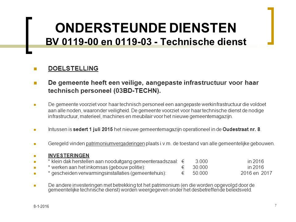 ONDERSTEUNDE DIENSTEN BV 0119-00 en 0119-03 - Technische dienst DOELSTELLING De gemeente heeft een veilige, aangepaste infrastructuur voor haar technisch personeel (03BD-TECHN).