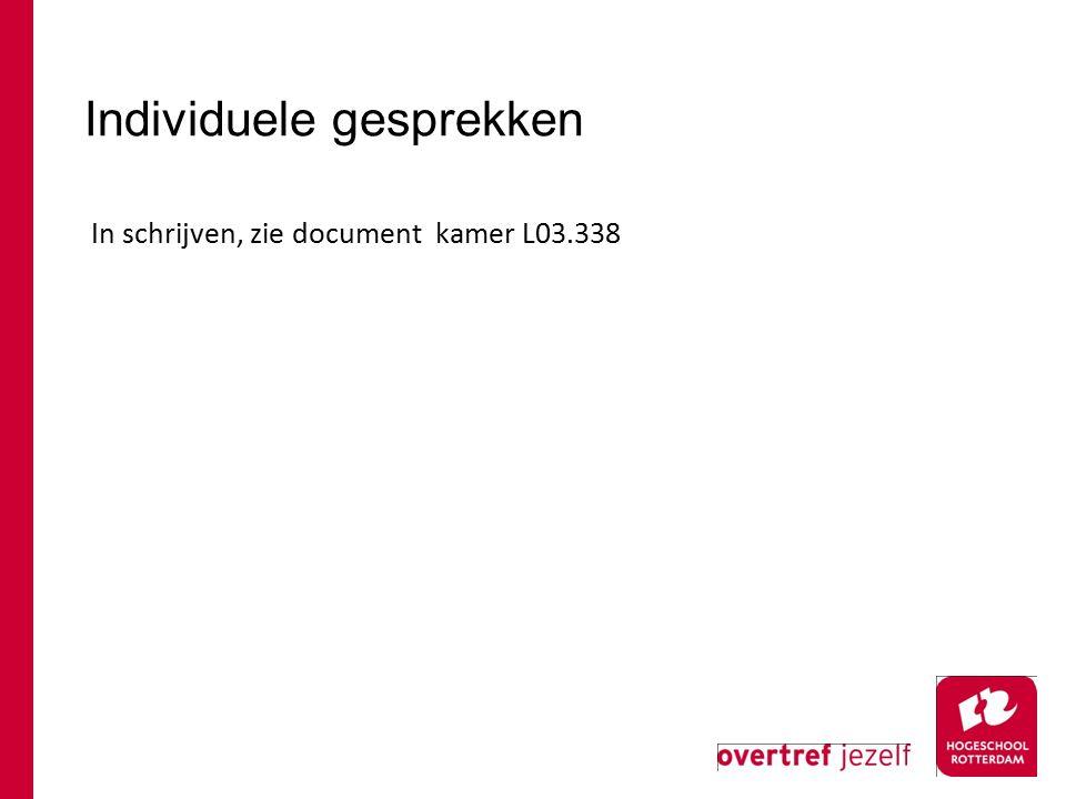 Individuele gesprekken In schrijven, zie document kamer L03.338