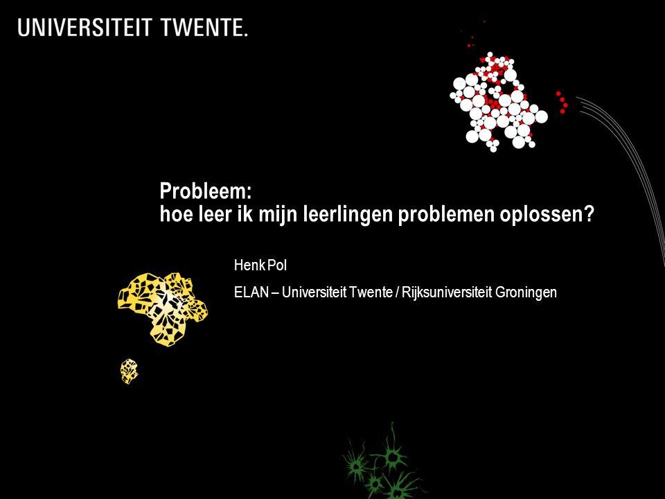 Probleem: hoe leer ik mijn leerlingen problemen oplossen.