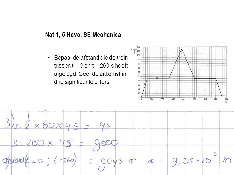 Nat 1, 5 Havo, SE Mechanica  Bepaal de afstand die de trein tussen t = 0 en t = 260 s heeft afgelegd.