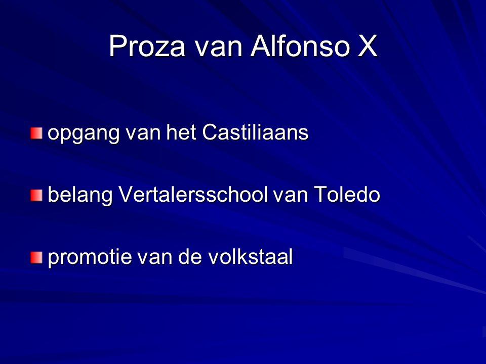 Proza van Alfonso X opgang van het Castiliaans belang Vertalersschool van Toledo promotie van de volkstaal