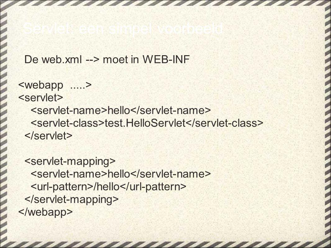 Servlet: een simpel voorbeeld De web.xml --> moet in WEB-INF hello test.HelloServlet hello /hello