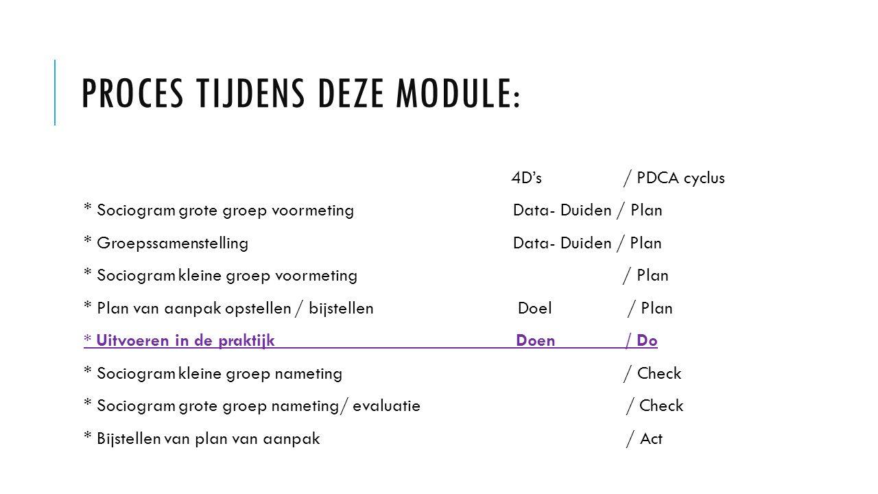 PROCES TIJDENS DEZE MODULE: 4D's / PDCA cyclus * Sociogram grote groep voormeting Data- Duiden / Plan * Groepssamenstelling Data- Duiden / Plan * Sociogram kleine groep voormeting / Plan * Plan van aanpak opstellen / bijstellen Doel / Plan * Uitvoeren in de praktijk Doen / Do * Sociogram kleine groep nameting / Check * Sociogram grote groep nameting/ evaluatie / Check * Bijstellen van plan van aanpak / Act
