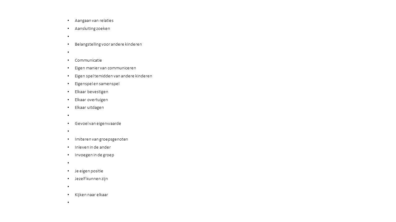 Aangaan van relaties Aansluiting zoeken Belangstelling voor andere kinderen Communicatie Eigen manier van communiceren Eigen spel temidden van andere kinderen Eigenspel en samenspel Elkaar bevestigen Elkaar overtuigen Elkaar uitdagen Gevoel van eigenwaarde Imiteren van groepsgenoten Inleven in de ander Invoegen in de groep Je eigen positie Jezelf kunnen zijn Kijken naar elkaar