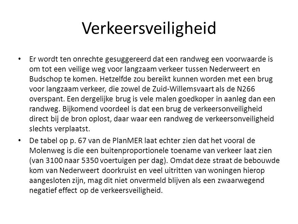 Verkeersveiligheid Er wordt ten onrechte gesuggereerd dat een randweg een voorwaarde is om tot een veilige weg voor langzaam verkeer tussen Nederweert en Budschop te komen.
