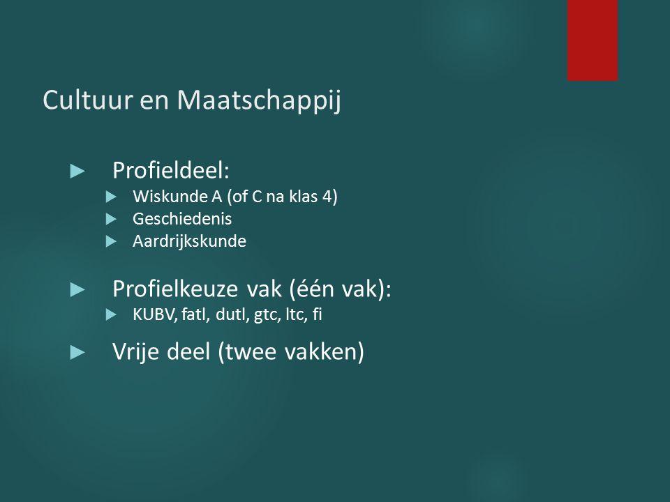 Cultuur en Maatschappij ► Profieldeel:  Wiskunde A (of C na klas 4)  Geschiedenis  Aardrijkskunde ► Profielkeuze vak (één vak):  KUBV, fatl, dutl,