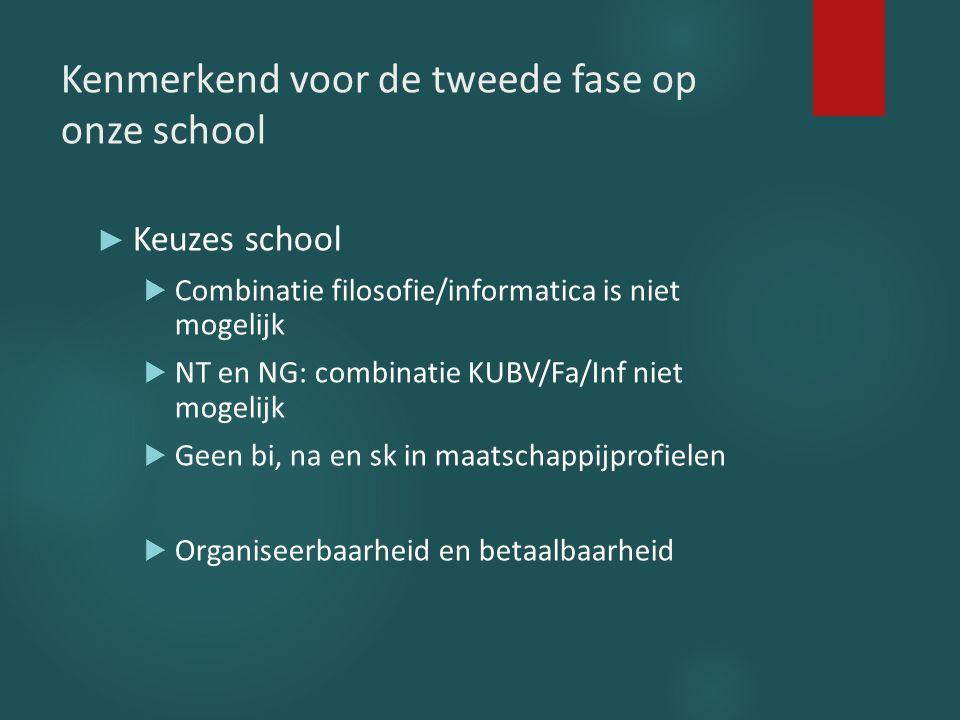 Kenmerkend voor de tweede fase op onze school ► Keuzes school  Combinatie filosofie/informatica is niet mogelijk  NT en NG: combinatie KUBV/Fa/Inf n