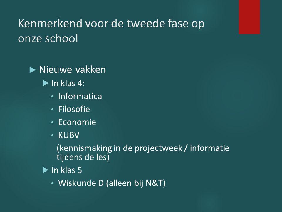 Kenmerkend voor de tweede fase op onze school ► Nieuwe vakken  In klas 4: Informatica Filosofie Economie KUBV (kennismaking in de projectweek / infor