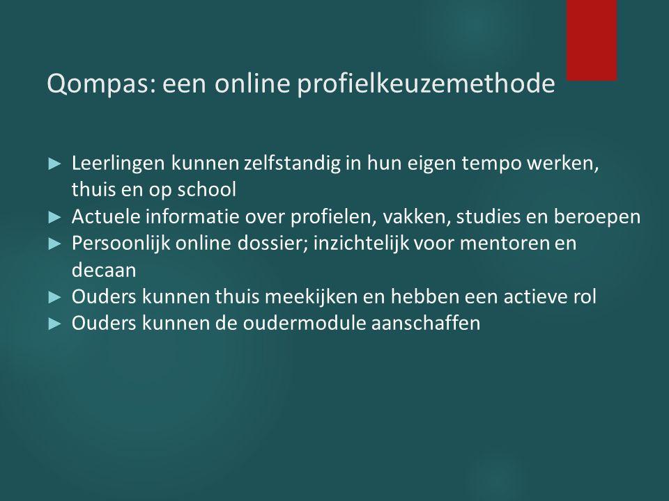 Qompas: een online profielkeuzemethode ► Leerlingen kunnen zelfstandig in hun eigen tempo werken, thuis en op school ► Actuele informatie over profiel