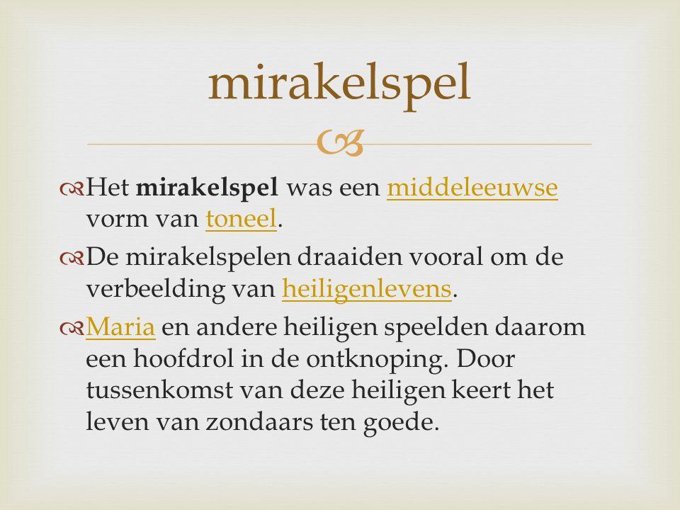   Het mirakelspel was een middeleeuwse vorm van toneel.middeleeuwsetoneel  De mirakelspelen draaiden vooral om de verbeelding van heiligenlevens.heiligenlevens  Maria en andere heiligen speelden daarom een hoofdrol in de ontknoping.